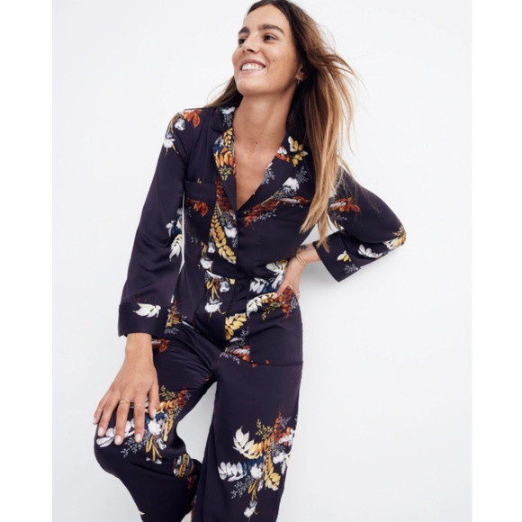 12dc6951bb51 satin pajama jumpsuit in blooming oasis. NWT. Madewell